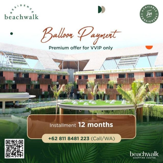Don't miss out on this chance of owning your dream home!  Use our Balloon Payment method and choose your ideal unit at beachwalk Residence. With the best surrounding area, its green environment concept and modern design, living here would give you another exciting experience.  Contact our in-house representative on +62 811 8481 223 for more information and details.  #DreamHome #PaymentMethod #beachwalkresidence #StrategicLocation #LivingInBali #BeachwalkBali #ShorelyBeautiful #HomeIsWhereYourHeart #HomeToYou #HomeAwayFromHome #UrbanLiving #BaliLuxuryResidence #BeautifulLegacy #ResidenceInBali #HomeInBali #WhenInBali #Kuta #LiveInKuta #ParadiseIndonesia  #TheParadiseGroup #INPP
