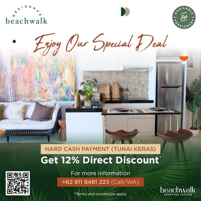 This promo doesn't last forever! Get a 12% direct discount by using our hard cash payment method.  Imagine living your life to the fullest and enjoying every part of it only at beachwalk Residence. With its strategic location, modern design, green environment concept, and world-class facilities, living at beachwalk Residence is like living your own dream.  Move to beachwalk Residence, contact our in-house representative on +62 811 8481 223.  #SpecialOffer #SpecialDeal #Promotion #beachwalkresidence #StrategicLocation #LivingInBali #BeachwalkBali #ShorelyBeautiful #HomeIsWhereYourHeart #HomeToYou #HomeAwayFromHome #UrbanLiving #BaliLuxuryResidence #BeautifulLegacy #ResidenceInBali #HomeInBali #WhenInBali #Kuta #LiveInKuta #ParadiseIndonesia #TheParadiseGroup #INPP